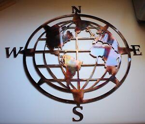 "Nautical COMPASS ROSE  20"" WALL ART DECOR WORLD GLOBE CENTER"