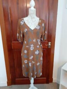 NEXT FLORAL CREPE WRAP DRESS BROWN GREEN RRP £22.00 B.N.W.T