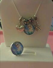 Disney FROZEN Elsa Snowflake Princess Silver Charm Necklace & Ring Set!