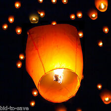 Felji White Paper Chinese Lanterns Sky Fly Candle Lamp for Party Wedding 50 Pack