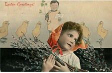 Antique 1908 Easter Greetings Holiday Postcard Girl Boy Chickens