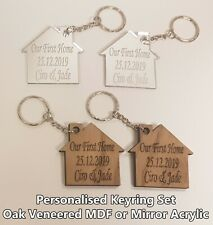 2 PERSONALISED OUR FIRST / NEW HOME KEYRINGS WOODEN ACRYLIC GIFT COUPLES PARTNER