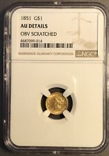 1851 NGC  $1 One Dollar Gold Liberty Head Coin Error Rotated Reverse  AU Details