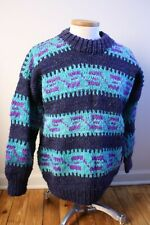 """Vtg Woven's Chuco 48"""" Chest 100% Wool Thick Chunky Sweater Ecuador L XL"""