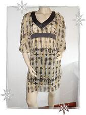 Robe Tunique Fantaisie Voile Transparente Marron Beige Loana Taille 36