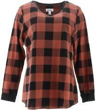 Denim & Co Plaid Jersey V-Neck Long Slv Tunic Rich Cinnamon L # A298059