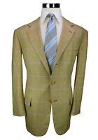 * Kiton * Light Tan W/ Blue Plaid 100% Cashmere 3-Btn Sport Coat Blazer 42R US