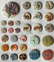 Wooden Buttons Wildlife Vintage Shabby Chic Craft Sewing 18mm 25mm 15 Pack