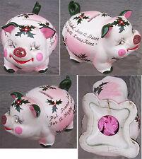 1950's Christmas Piggy Bank With Rhinestones & Glitter