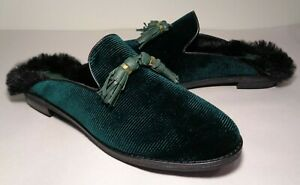 Sperry Size 9 M SEAPORT LEVY TASSEL Green Fur Mules Loafers New Women's Shoes