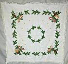 Vintage Hand Embroidered Table Topper from Germany, Christmas 28' x 28' (5A14)