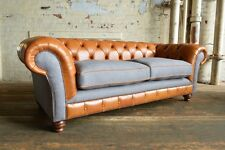VINTAGE RUSTIC TAN LEATHER & GREY WOOL 3 SEATER CHESTERFIELD SOFA COUCH,