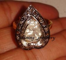 2.00cts Rose/Antique Cut Diamond .925 Sterling Silver Heart Ring