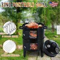 Charcoal Water Smoker Grill Outdoor BBQ Barbecue Cooker Backyard Camping USA