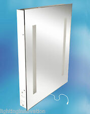 ILLUMINATED BATHROOM MIRROR WITH SHAVER SOCKET 500mm x 390mm X 60mm IP44 RATED