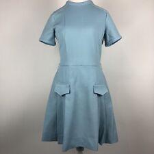 Vtg 60s Jonathan Logan Short Sleeve Sheath Pleated Knit Dress Womens Blue