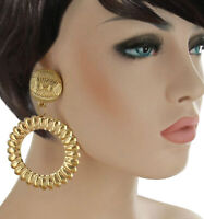 Extra Large Gold Tone Dangle Hoop Statement Pierced Earrings Lightweight 3 3/4""