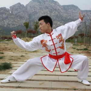 Silk Martial Arts Kung Fu Taichi Suit Uniform Dragon Pattern Changquan Clothes