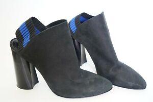 3.1 Phillip Lim Drum Slingback Pumps Boots Ankle Black Blue Stripe EU 37 US 6.5