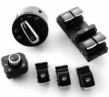 New Chrome Headlight Window Switches Kit For VW Jetta Golf MK5 Rabbit 6pcs