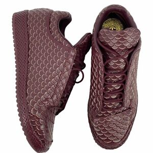Adidas Top Ten Mid Fish Scale Maroon Gold Textured Sneaker Shoes Mens 11