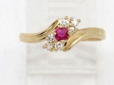 Round Diamond Right Hand Ring .27ct 14k Yellow Gold Round Pink Garnet and
