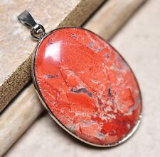 "Bloodstone Jasper Sea Sediment Quartz Natural Gemstone 1.75"" Silver Pendant #38"