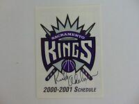 """""""Sacramento Kings"""" Rick Adelman Hand Signed 2000-01 Schedule Todd Mueller COA"""