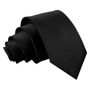 Long Black Tie Satin Skinny Wedding Funeral Staff Formal Professional Classic