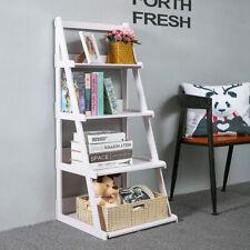4 Tier Ladder Shelf Wood-plastic Bookcase Stand Plant Storage Organizer Rack