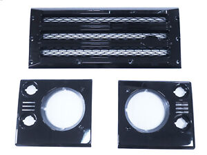 Front Grille+Head Lights Lamp Surrounds for Land Rover Defender - Gloss Black
