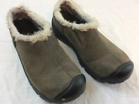 Keen Warm Womens Size 6.5 Slip On Olive Brown Winter Hiking Shoes