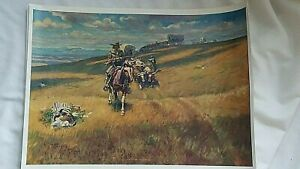 Vintage Set of Placemats Charles Marion Russell 14 x 10 When the Wagon Trails w
