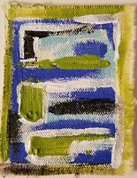 Acrylic ACEO painting canvas/abstract art/lime green/stripes/modern art/collect