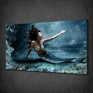 BEAUTIFUL MERMAID BLUE SEA MODERN CANVAS PRINT PICTURE READY TO HANG