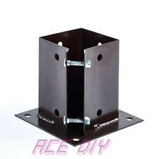 More details for bolt down fence support galvanised brown square bolted post holder grip anchor