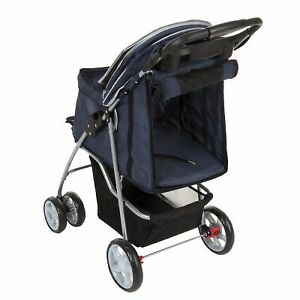 Pet Stroller Dog Cat Travel Push Chair Carrier Retractable Cover Buggy Wheels
