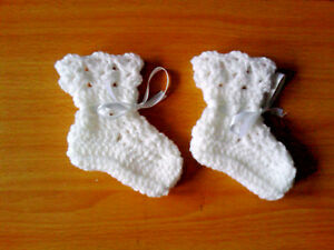 Handmade Hand Crocheted Baby Unisex Bootees-shell top   Acrylic  various colours