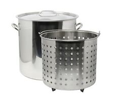 CONCORD 53 QT Stainless Steel Stock Pot w/ Basket. Heavy Kettle. Cookware for Bo