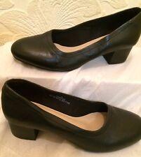 MARKS & SPENCER Black Leather Block Heeled Shoes Size 4 BNWOB