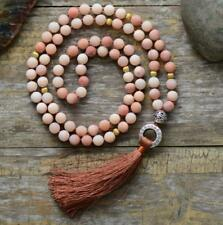 8mm Pink jade stone kont Necklace Reiki Healing Lucky Veins chain Tassel