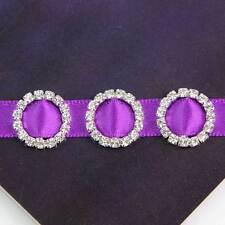 100Pc Crystal Rhinestone Round Buckle Invitation Ribbon Slider For Wedding Party
