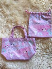Rare Sanrio Bonbon Ribbon Drawstring Bag And tote Bag Lot Of 2 From Japan 🇯🇵