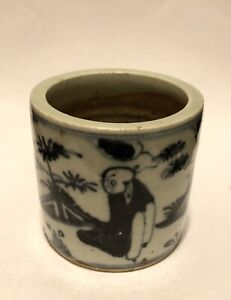 A Chinese antique blue and white porcelain censer or pot