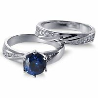 Blue Sapphire Brilliant Engagement Sterling Silver Ring Set 2.35 Ctw