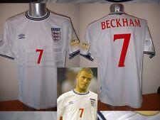 England Shirt Jersey Medium BECKHAM Vintage Umbro Football Soccer Soccer Man Utd