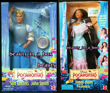 "Shining Braids Pocahontas & John Smith Sun Colors Disney Ken Doll NRFB Lot 2 """