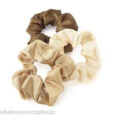 New Pack of 3 Brown Tone Satin Hair Band Hair Elastic Scrunchie HA26657
