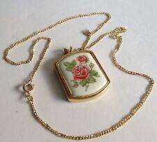 Vintage Avon Necklace Floral Heritage 1980 Rose for June Birthday on Porcelain a