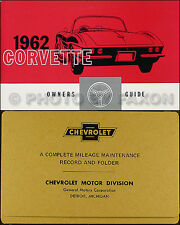 1962 Corvette Owners Manual Package with Maintenance Schedule Envelope 62 Owner